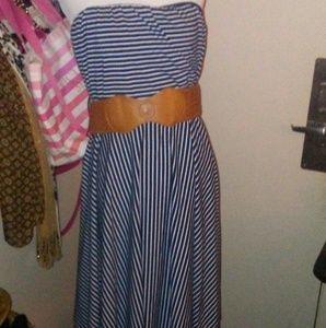 Maurice's Striped Halter Dress with Belt